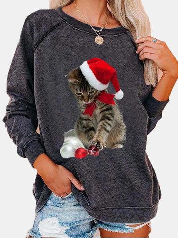Christmas Cat Print T-shirt