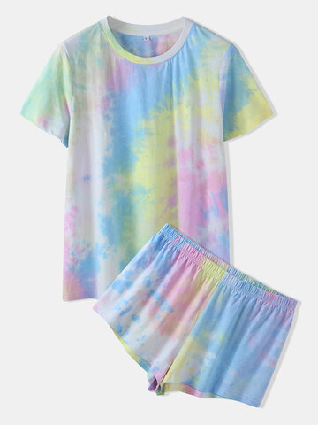 Tie Dye O-Neck Pajamas Set
