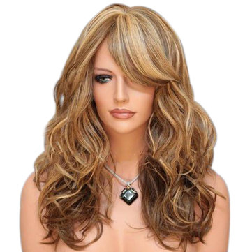 Long Wave Fluffy Synthetic Wig, Brown