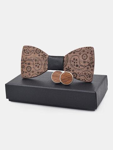 Exquisite Wooden Bow Tie Cufflink