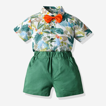 Boy's Coconut Palm Print Vacation Suit For 1-8Y