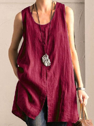 Solid Color Sleeveless Tank Top