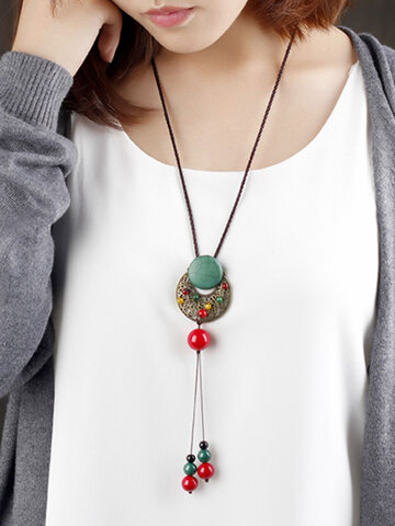Ethnic Agate Turquoise Jade Long Necklace