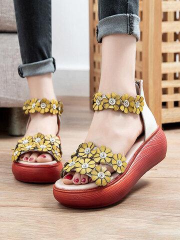 Ethnic Flower Decor Platform Sandals