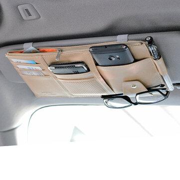 Multifunctional Leather Car Storage Bag Visor Cover Card License Holder Glasses Folder