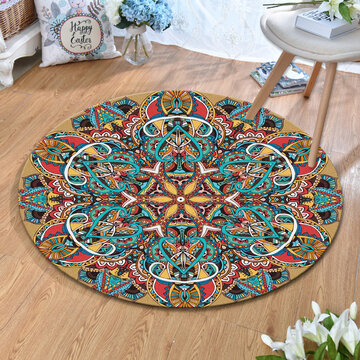 Washable Round Round Thin Flat Home Carpet Rug