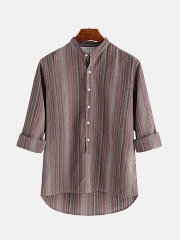 Mens 100% Cotton Ethnic Style Striped Loose T shirt, Purple claret wine red
