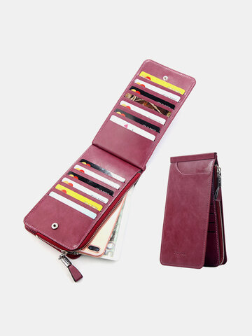 Ultra-thin 26 Card Slot Wallet Solid PU Leather Phone Purse