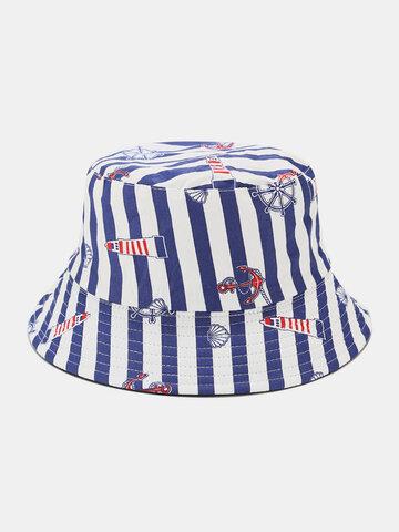 Women & Men Anchor Striped Pattern Bucket Hat
