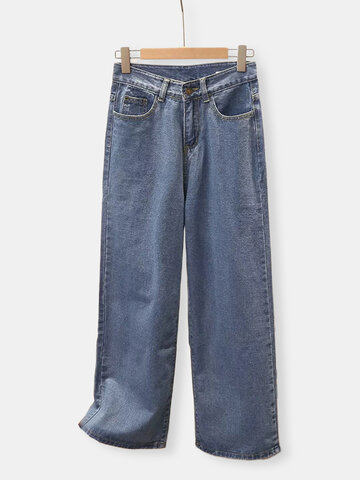 Straight Ankle High Wais Wide Leg Casual Denim