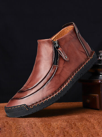 Menico Men Leather Stitching Side Zipper Boots