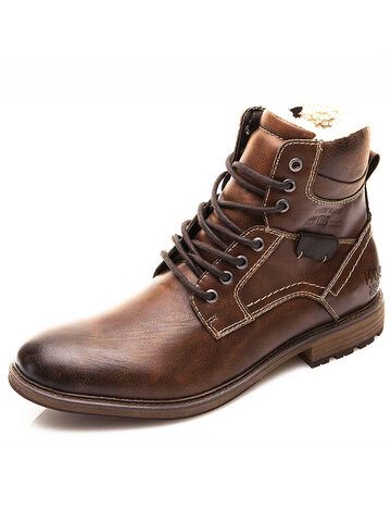 Men Retro Warm Lining Ankle Boots