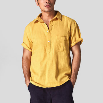 Mens Cotton Linen vendimia Summer Camisa Collar T-shirts