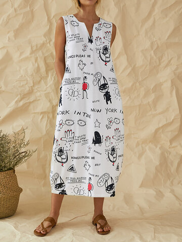 Graffiti Print V-neck Dress