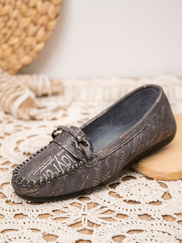 Letter Pattern Hand Stitching Driving Shoes