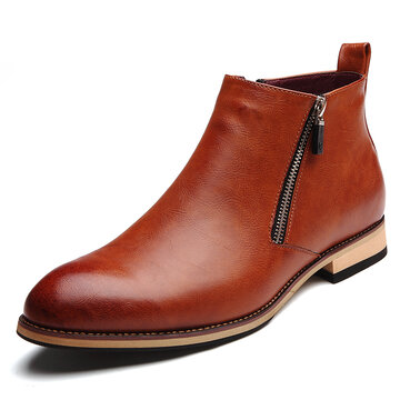 Men Retro Microfiber Leather Non-slip Casual Boots
