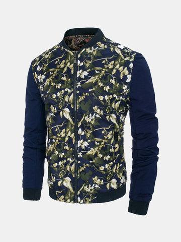 Men's Floral Printing Long Sleeve Jacket