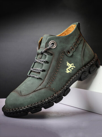Men Work Style Microfiber Leather Boots