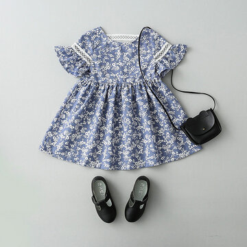 Flower Printed Toddlers Party Dresses