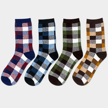 Retro Casual Plaid Spell Color Plaid Soft Cotton Casual Tube Socks For Men