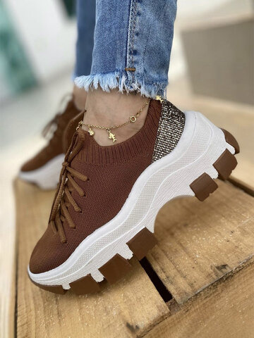 Breathable Knitted Fabric Running Shoes
