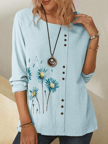 Button Daisy Flower Blouse