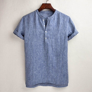 Mens Cotton Linen Short Sleeves  T-shirt