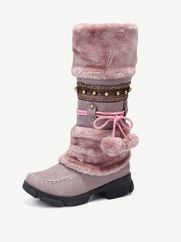 LOSTISY Rhinestone Warm Knight Boots