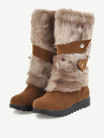 Large Size Furry Knee Boots
