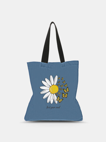Canvas Blue Calico Pattern Tote