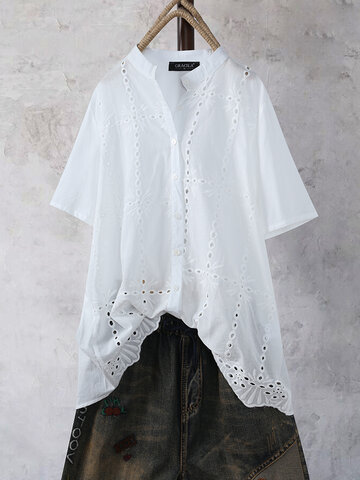 Lace Band Collar Blouse