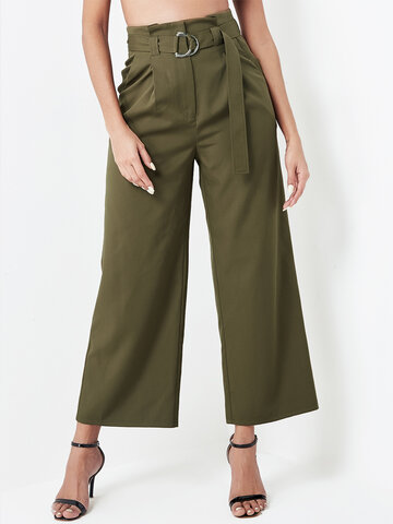 Solid Color Waistband Casual Pants