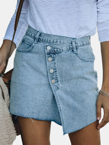 Patch Button Front Jeans Mini Skirt