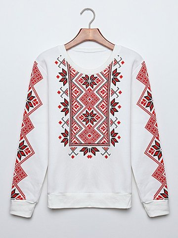 Colorblock Floral Long Sleeve O Neck Sweatshirt