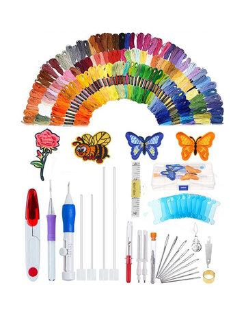 187 pezzi / set Kit da ricamo Punch Ago Disegni da ricamo Punch Needle Kit Strumento artigianale Set di penne da ricamo Fili per cucire Knitting DIY Threaders