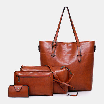 Women 4Pcs Solid Vintage Handbag