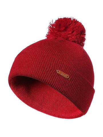 Wool Fur Ball Beanie Cap