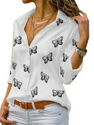 Butterflies Print Long Sleeve Shirt