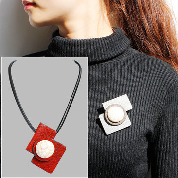 Casual Necklace Leather Stone Pendant Brooch Necklace