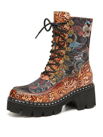 SOCOFY Retro Flowers Cloth Splicing Round Toe Floral Embossed Leather Comfy Short Boots