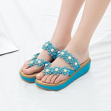 Flower Open Heel Platform Slippers