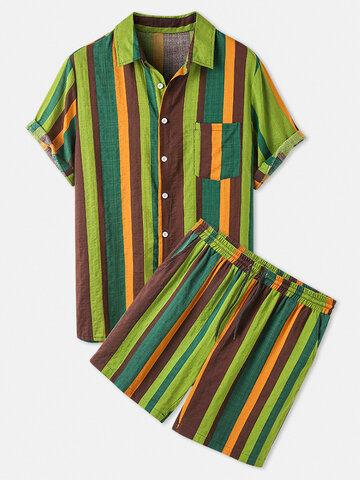 Cotton Colorful Stripe Two Pieces