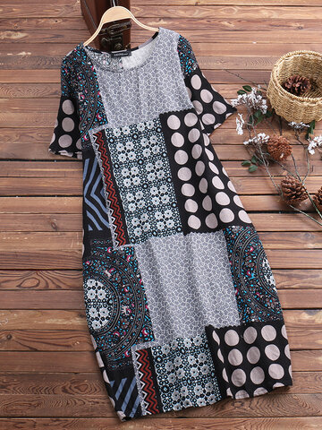 Vintage Printed Pocket Dress