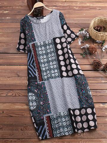 O-NEWE Robe Vintage Imprimée Florale Avec Poches À Col En O De Grande Taille