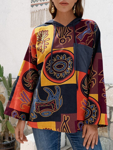 Vintage Printed Hooded Blouse