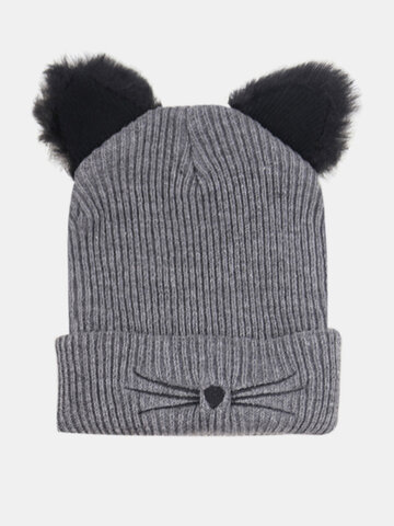 Women Knitted Cartoon Cute Cat Embroidery Pattern Beanie Hat