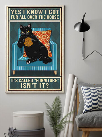 Black Cat And Letter Pattern Pattern Canvas Painting Unframed Wall Art Canvas Living Room Home Decor