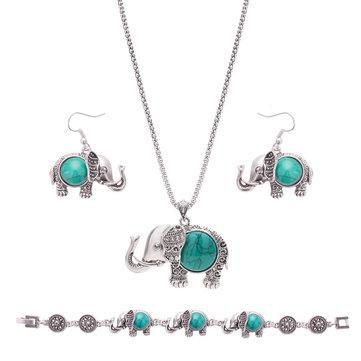 Retro insieme dei monili dell'annata del braccialetto della collana dell'elefante del turchese dell'annata