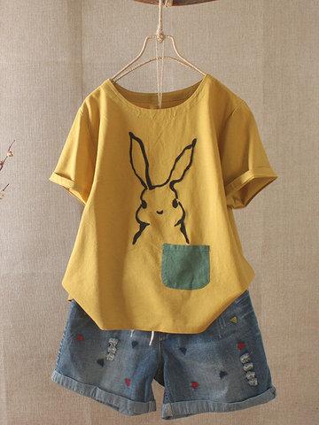 Karikatur-Kaninchen-Druck-T-Shirt