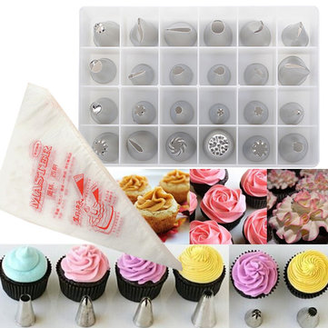 24pcs Cake Decoration Set Of Icing Piping Nozzle Tips Set